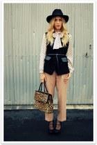 black Urban Outfitters hat - black vintage vest - eggshell vintage blouse - came