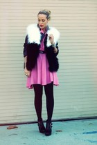 black thrifted jacket - black Jeffrey Campbell boots - hot pink thrifted dress