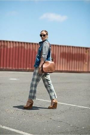 brown coach bag - navy Jcrew shirt - brown Karen Walker sunglasses