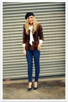black H&M hat - brown vintage jacket - blue BDG at urban outfitters jeans - blac