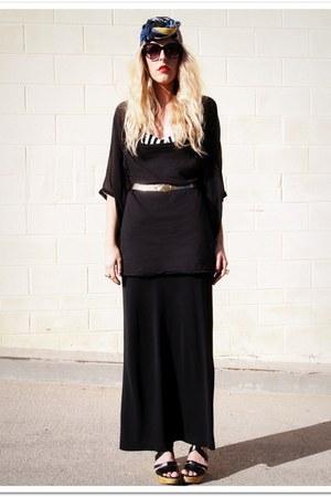 black QSW dress - navy vintage scarf - black H&M sunglasses - black thrifted ski