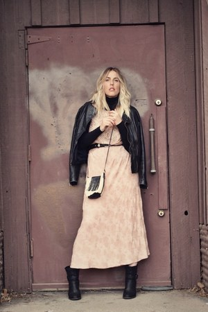 black Steven boots - light pink thrifted dress - black thrifted jacket
