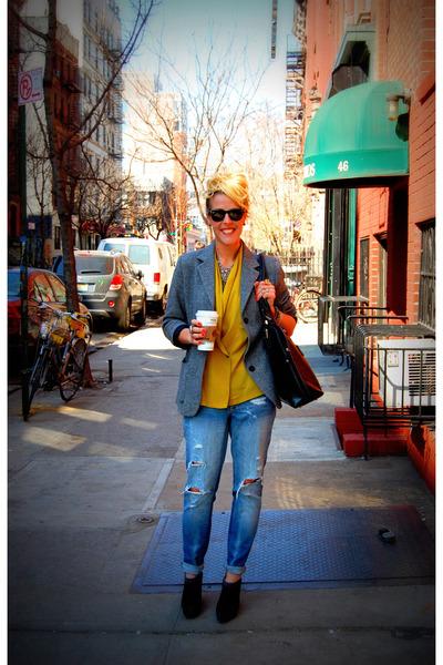 blue madewell jeans - gray Zara blazer - black Prada boots - yellow vintage blaz