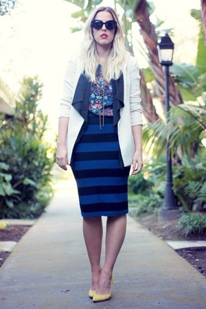 navy Forever 21 skirt - ivory Lovers  Friends blazer - blue Target shirt