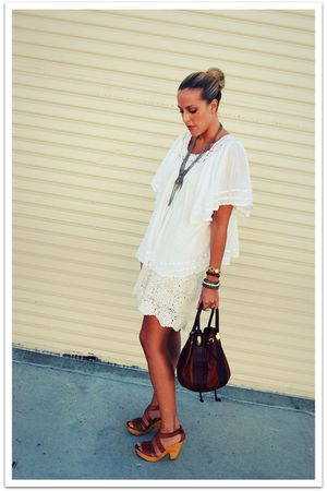 white vintage shirt - white vintage skirt - brown Marino Orlandi bag - brown Ste