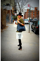green jacket - white vintage dress - black Jeffrey Campbell boots - black Target