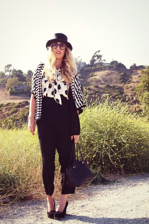 white polka dots Zara via Crossroads blouse - black H&amp;M hat