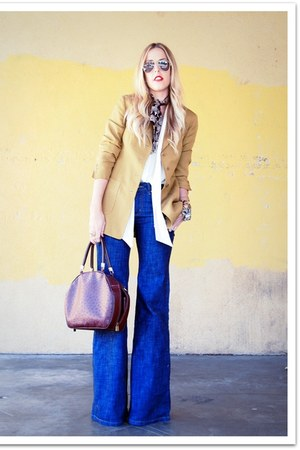 navy Victorias Secret jeans - mustard vintage blazer - dark brown vintage bag -