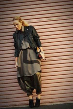 black Prada via Crossroads boots - charcoal gray Kelly Wearstler dress