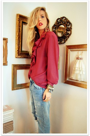 ruby red thrifted vintage blouse - light blue Quiksilver Women jeans