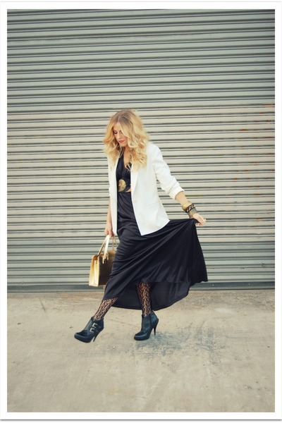 black vintage dress - gold vintage belt - white vintage jacket - black Jeffrey C