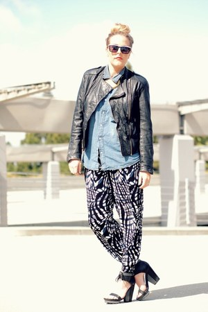 black H&amp;M pants - black vintage jacket - navy H&amp;M shirt
