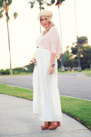 nude vintage hat - light pink Asos Maternity shirt - beige vintage skirt