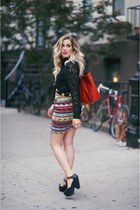 red vintage skirt - hautelook shoes - red rabeanco bag