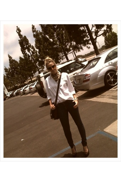 Landsend shirt - BDG jeans - vintage scarf - Forever21 purse