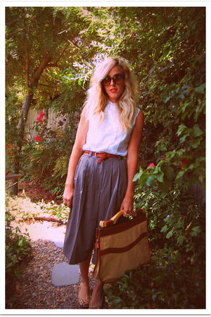 white vintage blouse - gray vintage pants - brown Steve Madden shoes - brown vin