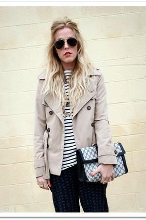 navy St James shirt - camel Target jacket - navy Vintage Gucci bag