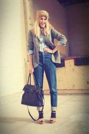 blue Elsewhere Vintage jeans - light brown vintage hat - dark gray Zara blazer