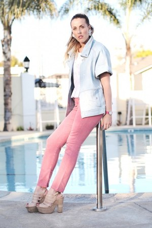 pink Joes Jeans jeans - light blue Tibi jacket - white vintage earrings