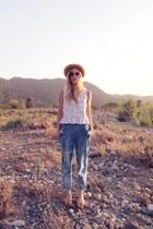 blue thrifted jeans - off white vintage hat - light orange H&M sunglasses - bubb