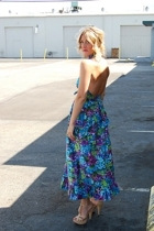 blue floral halter vintage dress - beige platforms Forever21 shoes