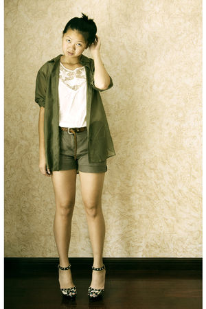green H&amp;M blouse - white H&amp;M top - gray H&amp;M shorts - brown vintage belt - beige 