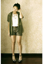 green H&M blouse - white H&M top - gray H&M shorts - brown vintage belt - beige