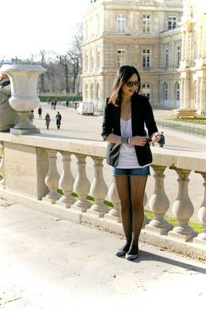 black H&amp;M blazer - white H&amp;M top - blue f21 shorts - black H&amp;M tights