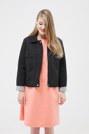 coral THE WHITEPEPPER dress - black THE WHITEPEPPER jacket