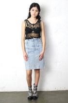 sheer THE WHITEPEPPER top - pencil skirt vintage skirt