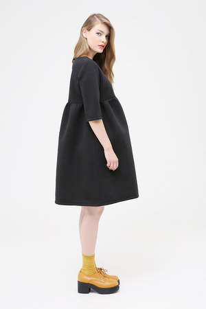 black THE WHITEPEPPER dress - crimson THE WHITEPEPPER boots