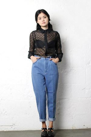black sheer THE WHITEPEPPER shirt - mum jeans THE WHITEPEPPER jeans