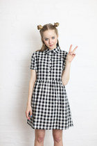 Check Shirt Dress in Black Gingham.