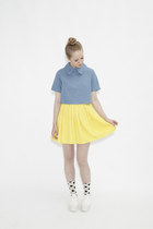 yellow THE WHITEPEPPER skirt - sky blue THE WHITEPEPPER top