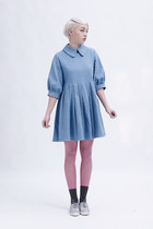 sky blue big collar THE WHITEPEPPER dress