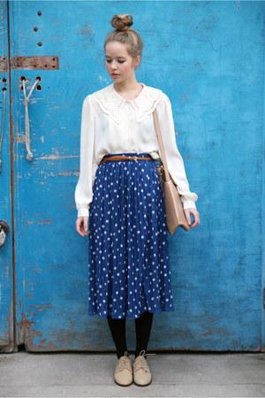 navy long skirt THE WHITEPEPPER skirt