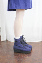Indian Platform Ankle Boots Navy