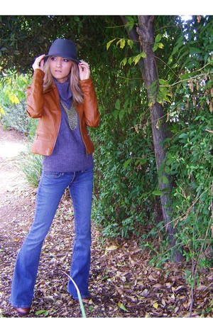 olive green hat - tawny jacket - blue jeans - charcoal gray sweater