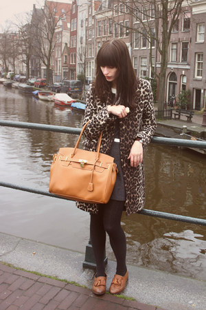 tawny Topshop shoes - gray miss patina dress - brown leopard-print Zara coat - l
