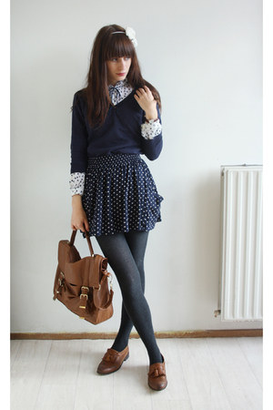 tawny Primark bag - tawny Topshop shoes - navy Primark sweater