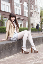 gold gold Lazzari jacket - periwinkle Monki skirt - heather gray Nellycom heels