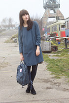 blue H&M coat - blue Fjllrven bag