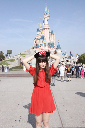 red altered H&M dress - black Minnie Mouse accessories