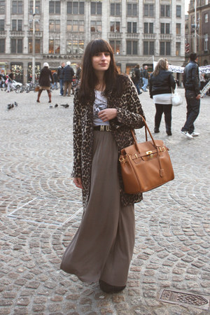 brown leopard Zara coat - tawny p&amp;c bag - gray maxi Monki skirt - black Moschino