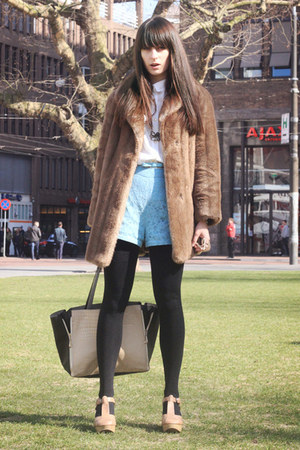 light brown faux fur vintage coat - off white romwe bag