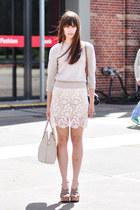ivory miss patina skirt - beige H&M sweater - heather gray Esprit heels