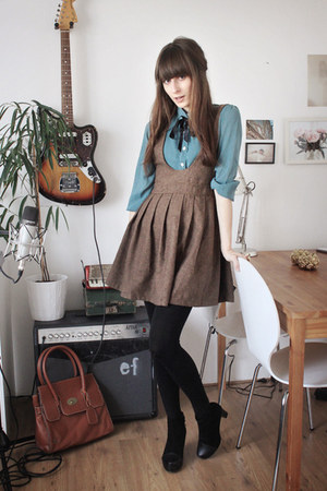 turquoise blue kling blouse - brown romwe dress - black Nellycom heels
