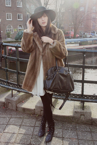 brown vintage coat - white modcloth dress - black InVito bag - black vintage hat