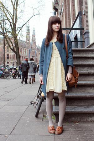 tawny Topshop shoes - cream Primark dress - blue H&M coat - tawny Primark bag