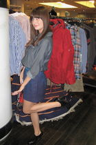 gray Old Navy shirt - blue Urban Outfitters skirt - black Forever 21 shoes